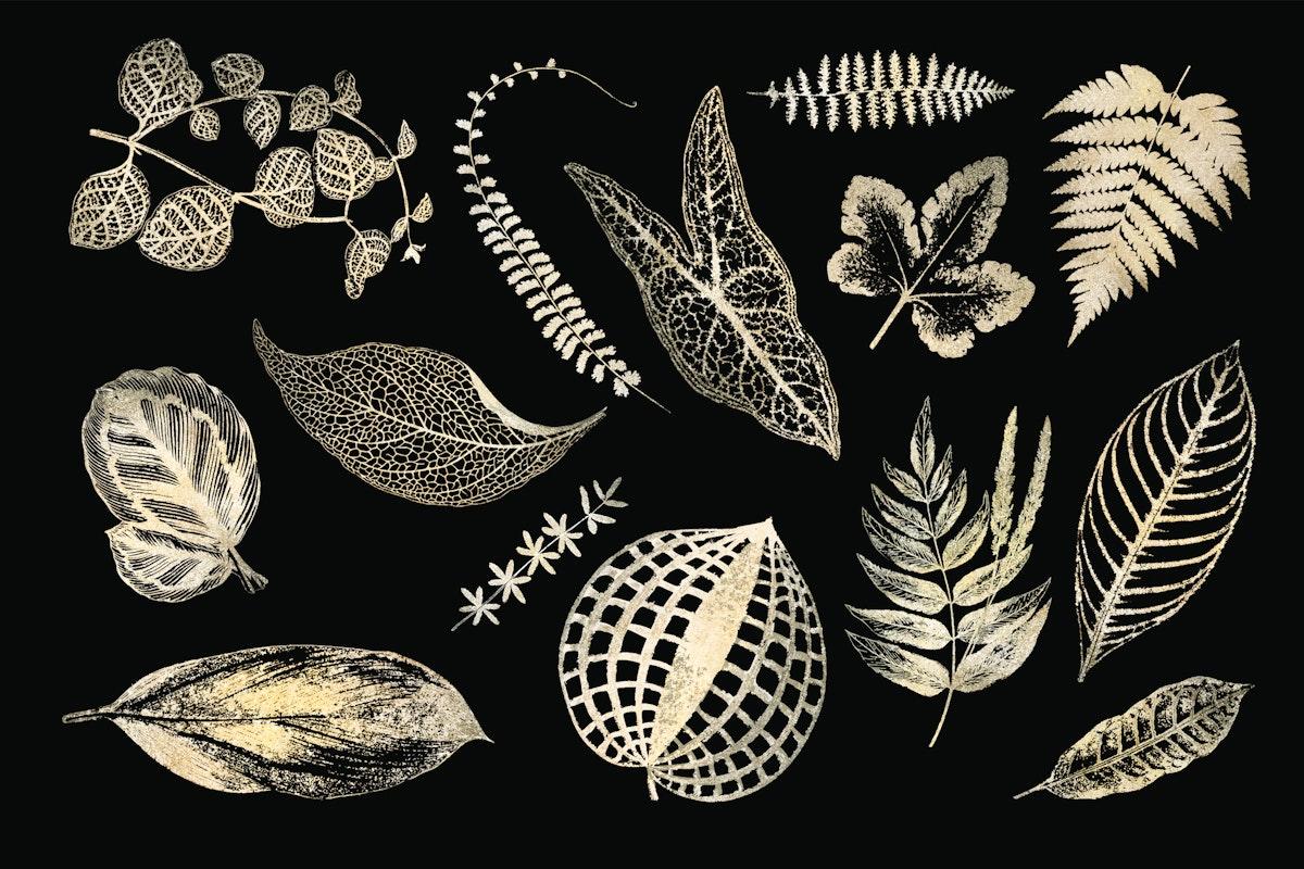 Shimmering leaves vector set in gold botanical design element