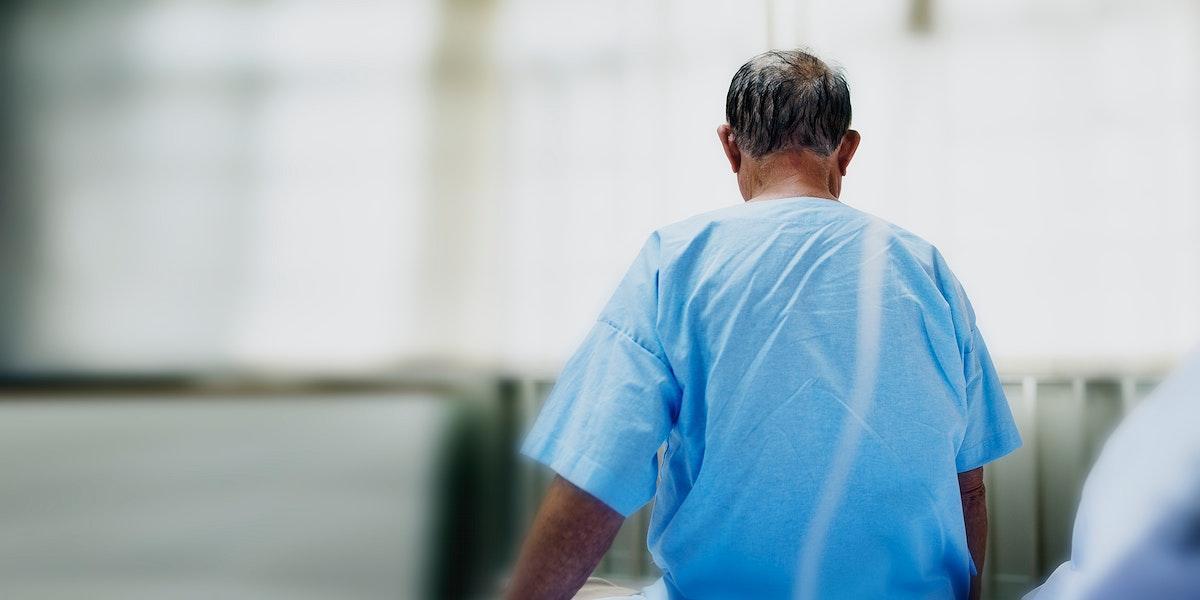Coronavirus infected elderly patient in a hospital