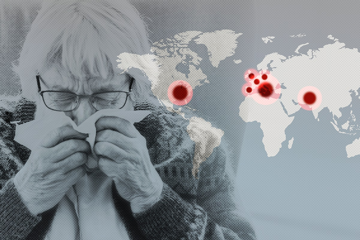 Elderly woman infected with Covid-19 during the coronavirus pandemic