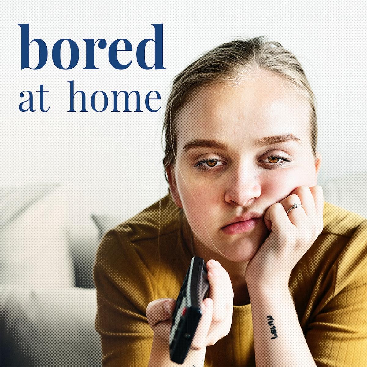 Young woman getting bored at home during coronavirus quarantine template mockup