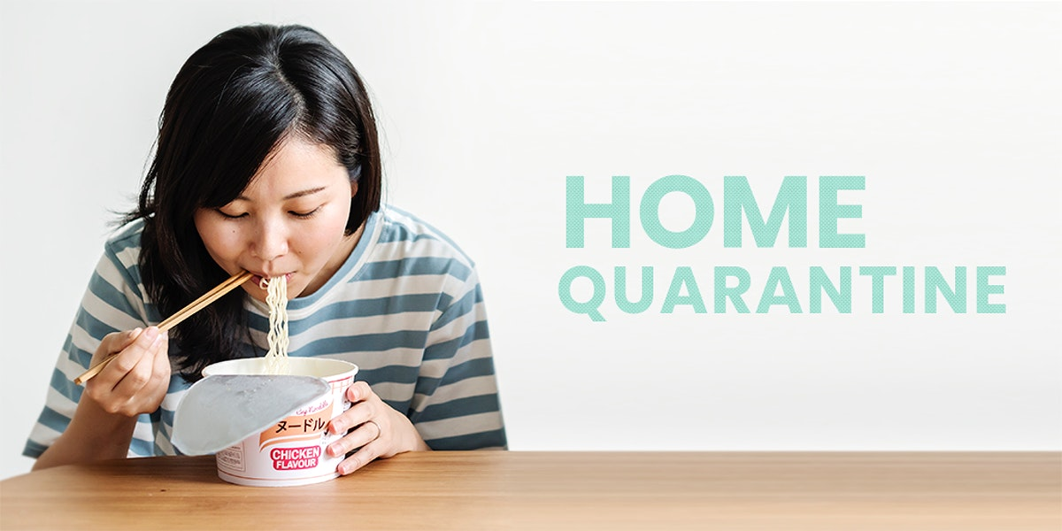Asian woman eating instant noodles during coronavirus quarantine template mockup
