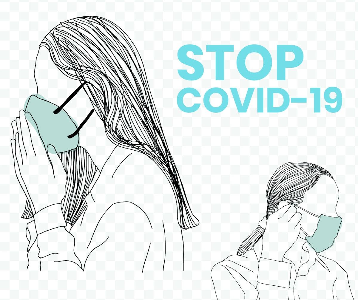 Stop COVID-19 social template vector