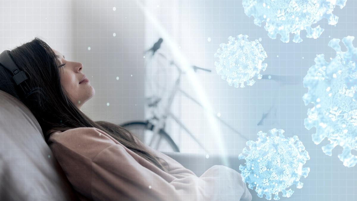 Woman relaxing at home during coronavirus pandemic