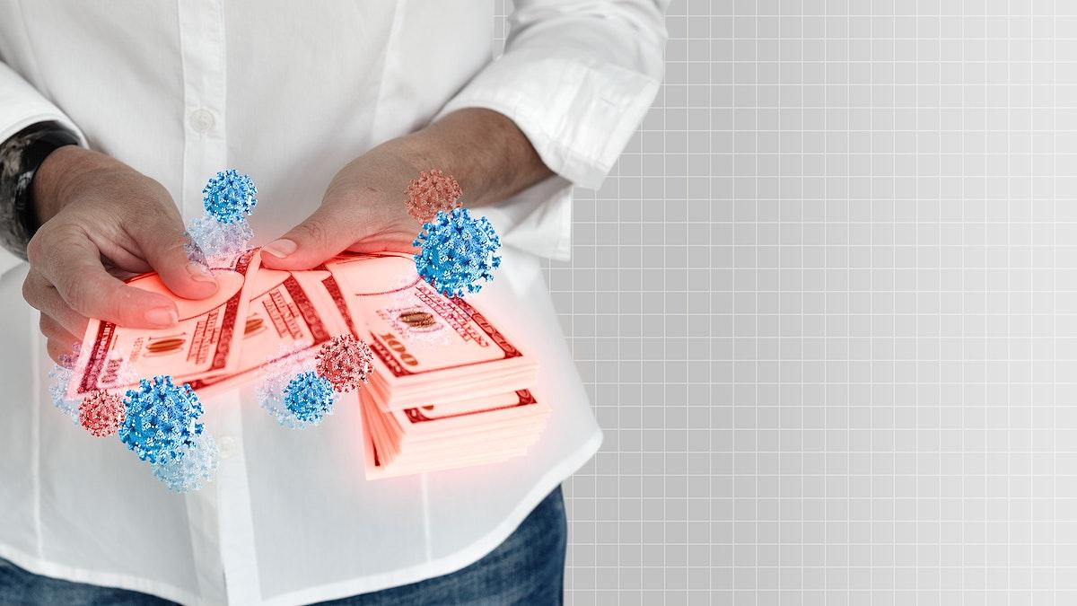 Money contaminated with coronavirus mockup