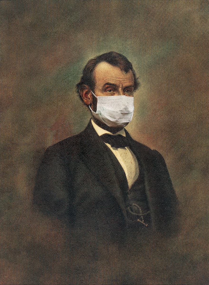 Abraham Lincoln wearing a surgical mask public domain remix