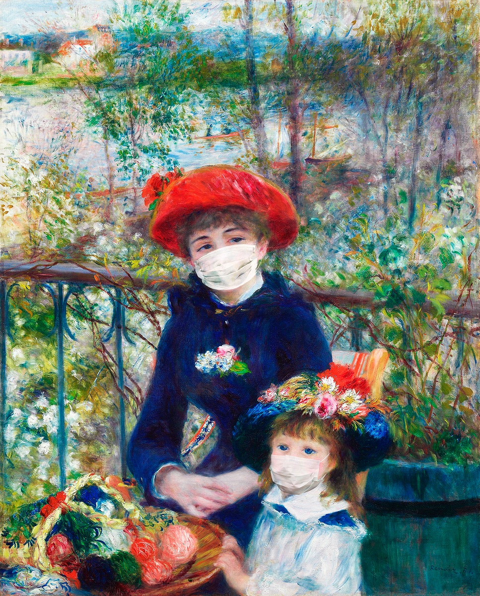 Pierre-Auguste Renoir's two sisters wearing face masks during coronavirus pandemic public domain remix
