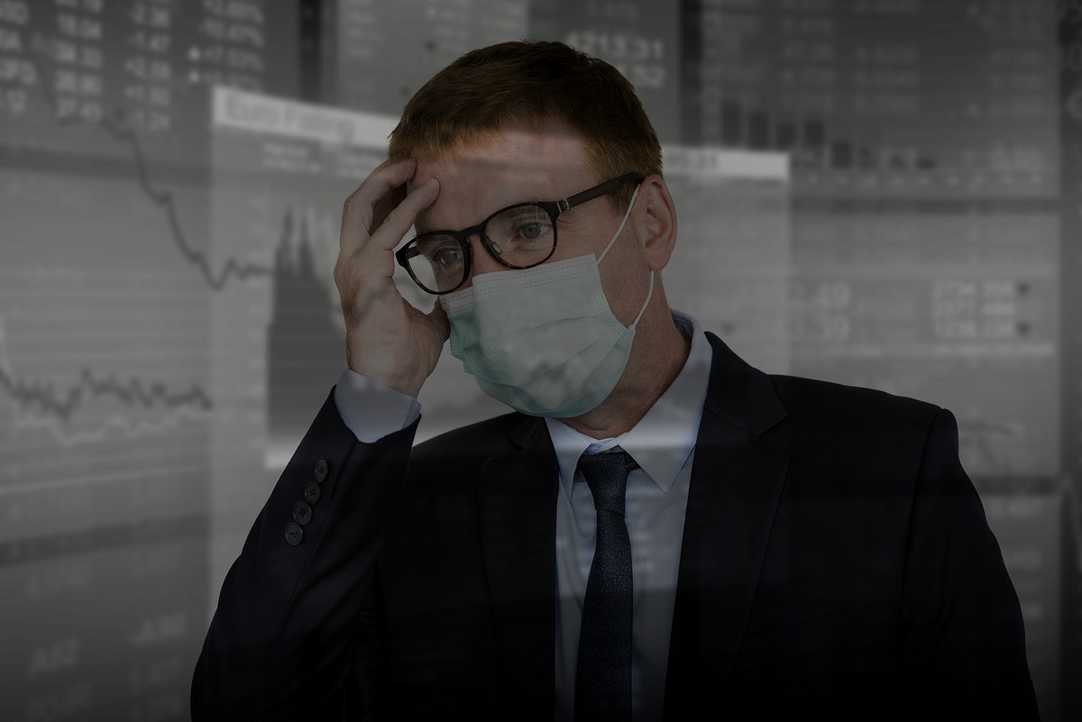 Businessman in a financial crisis due to the coronavirus outbreak