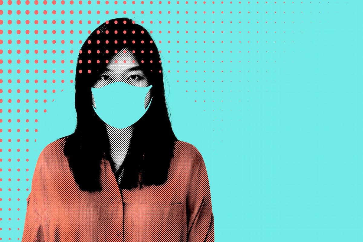 Woman wearing a face mask during coronavirus pandemic illustration