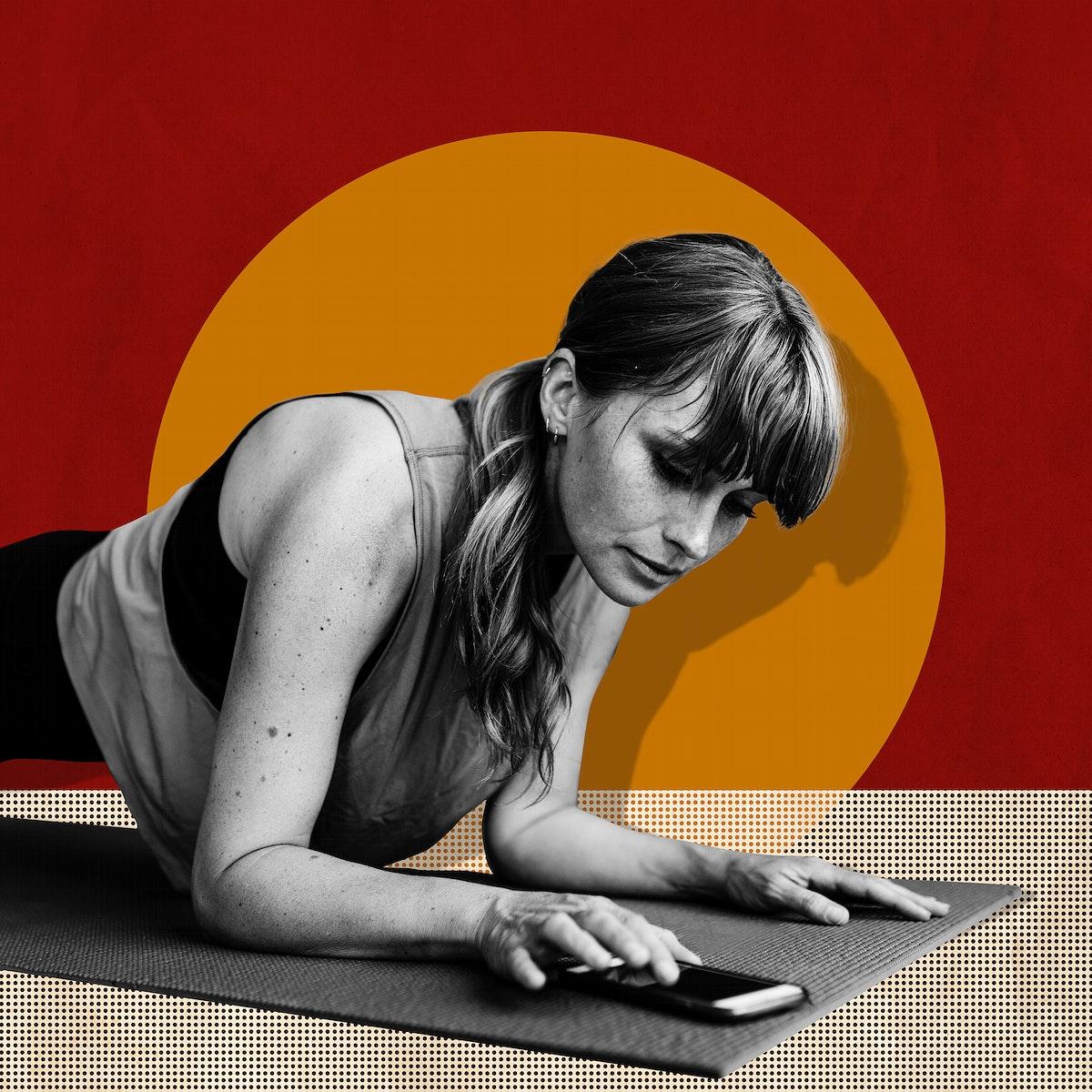 Woman planking during coronavirus quarantine social banner