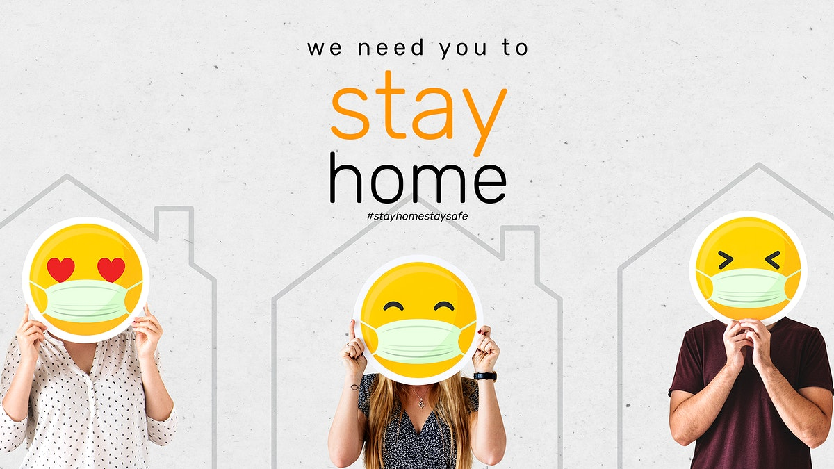We need you to stay home during coronavirus social banner template mockup