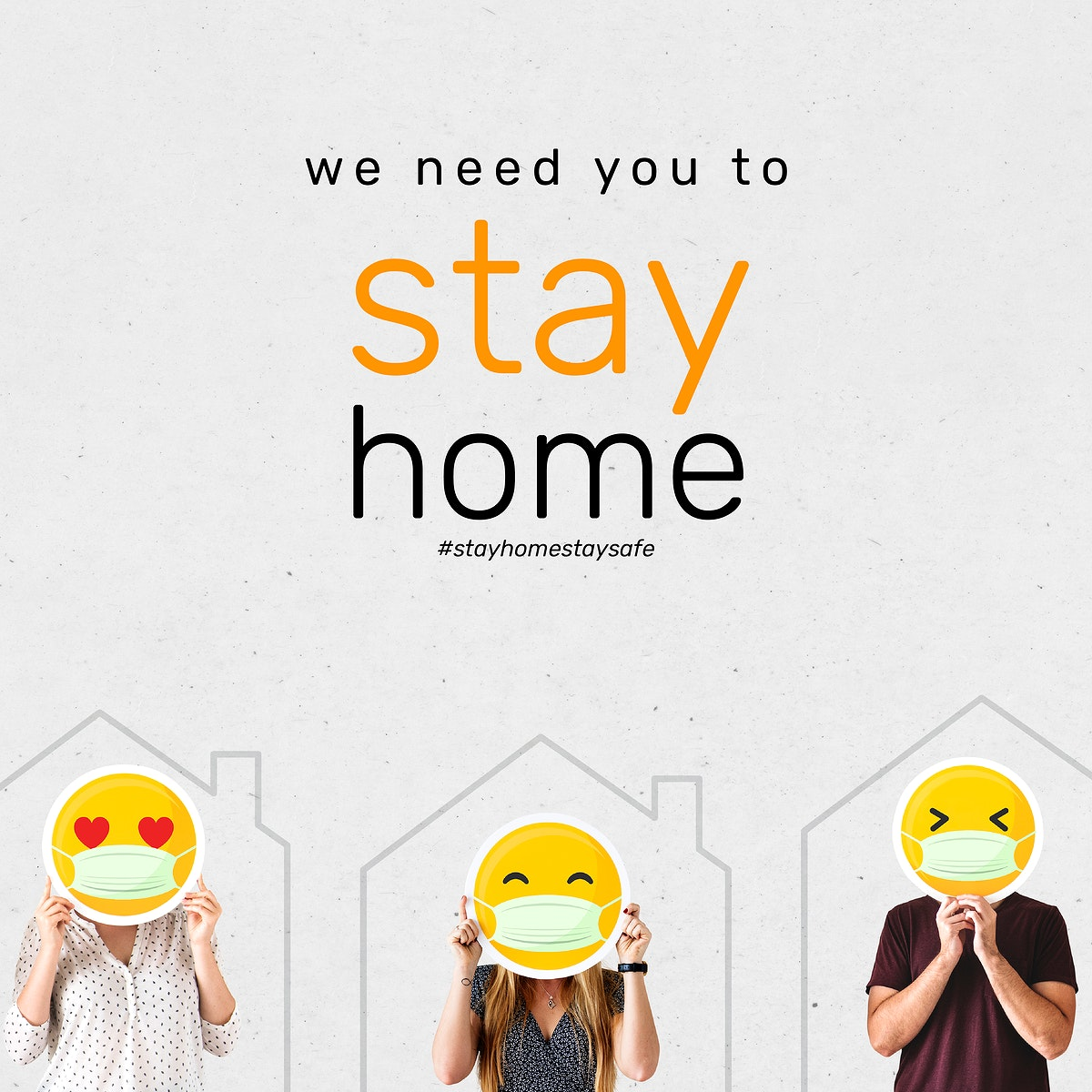 We need you to stay home during coronavirus social banner template vector