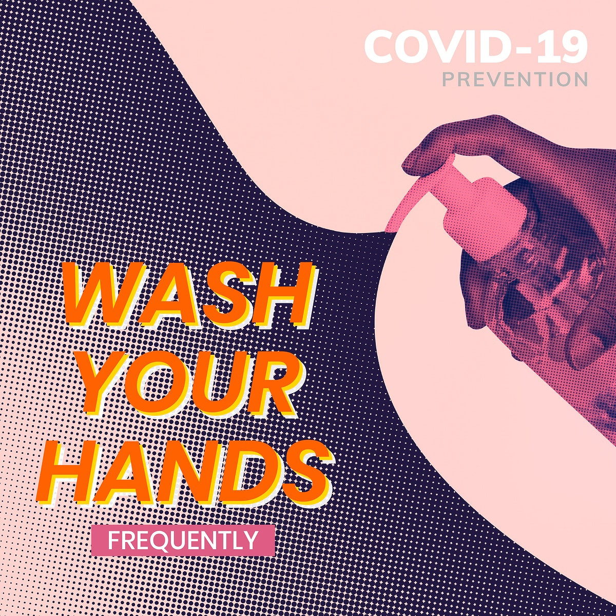 Wash your hands frequently during coronavirus pandemic social template vector