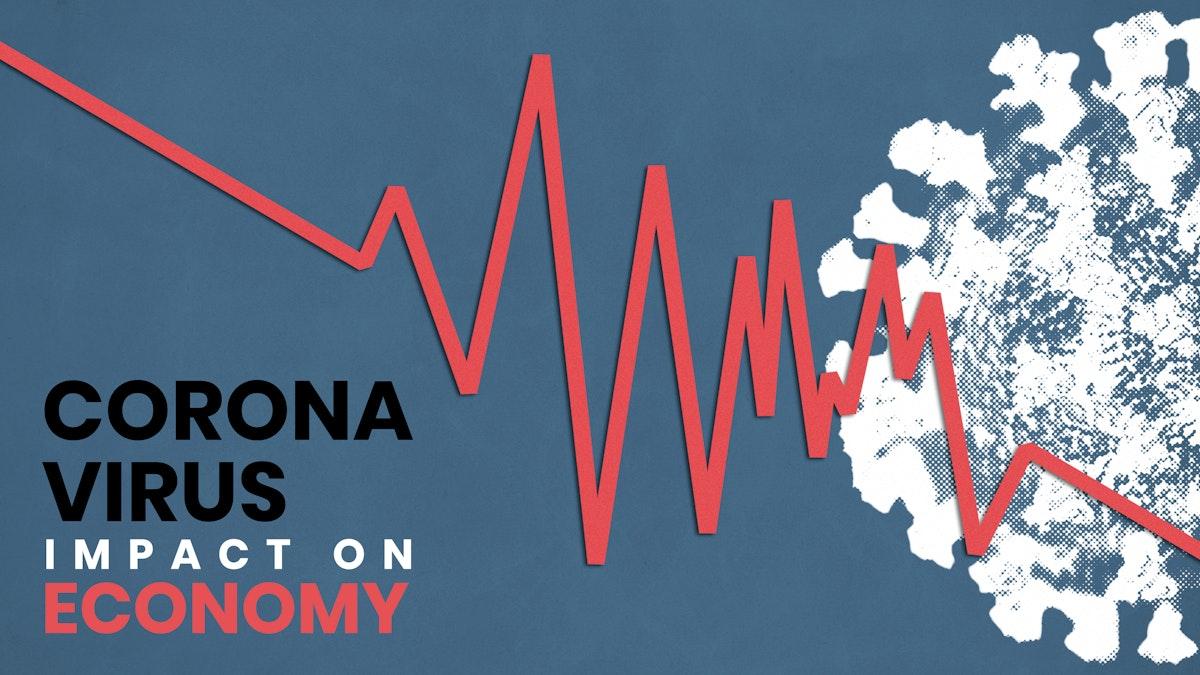 Coronavirus impact on the economy social template vector