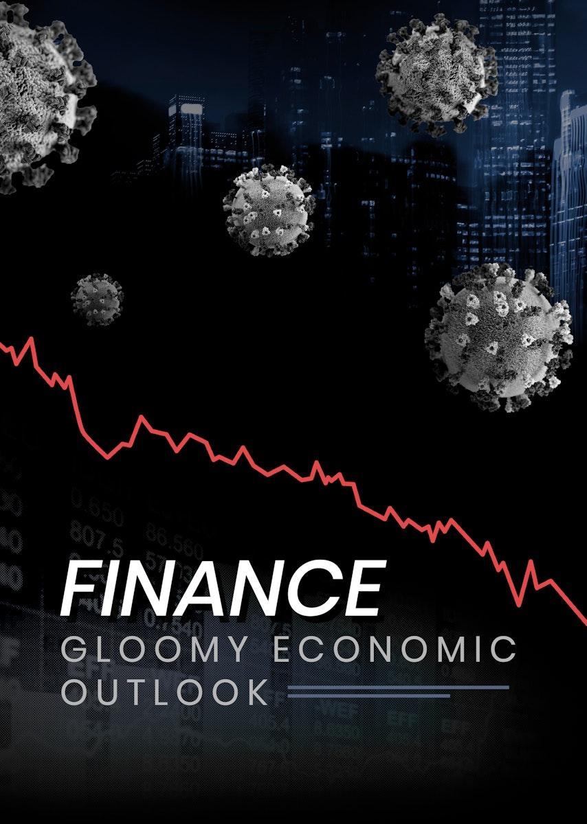 Gloomy economic outlook social template vector