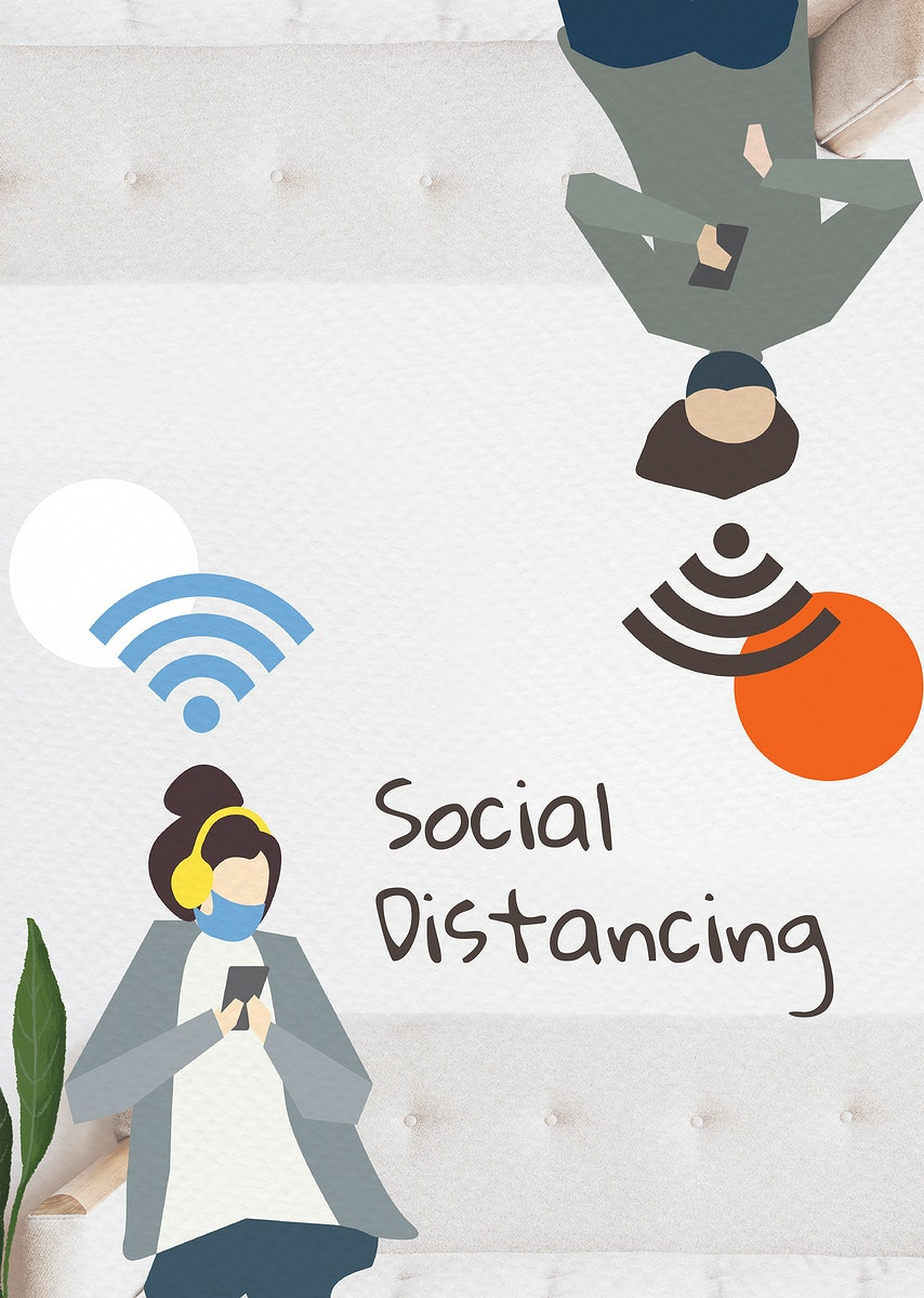 People with social distancing in public vector
