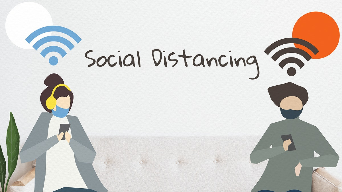 People with social distancing in public mockup