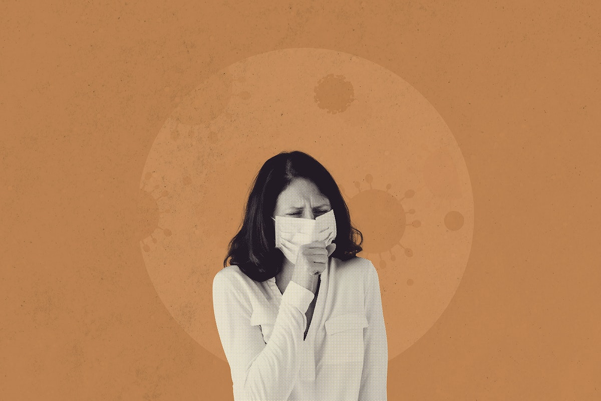 Coughing woman with coronavirus symptoms background