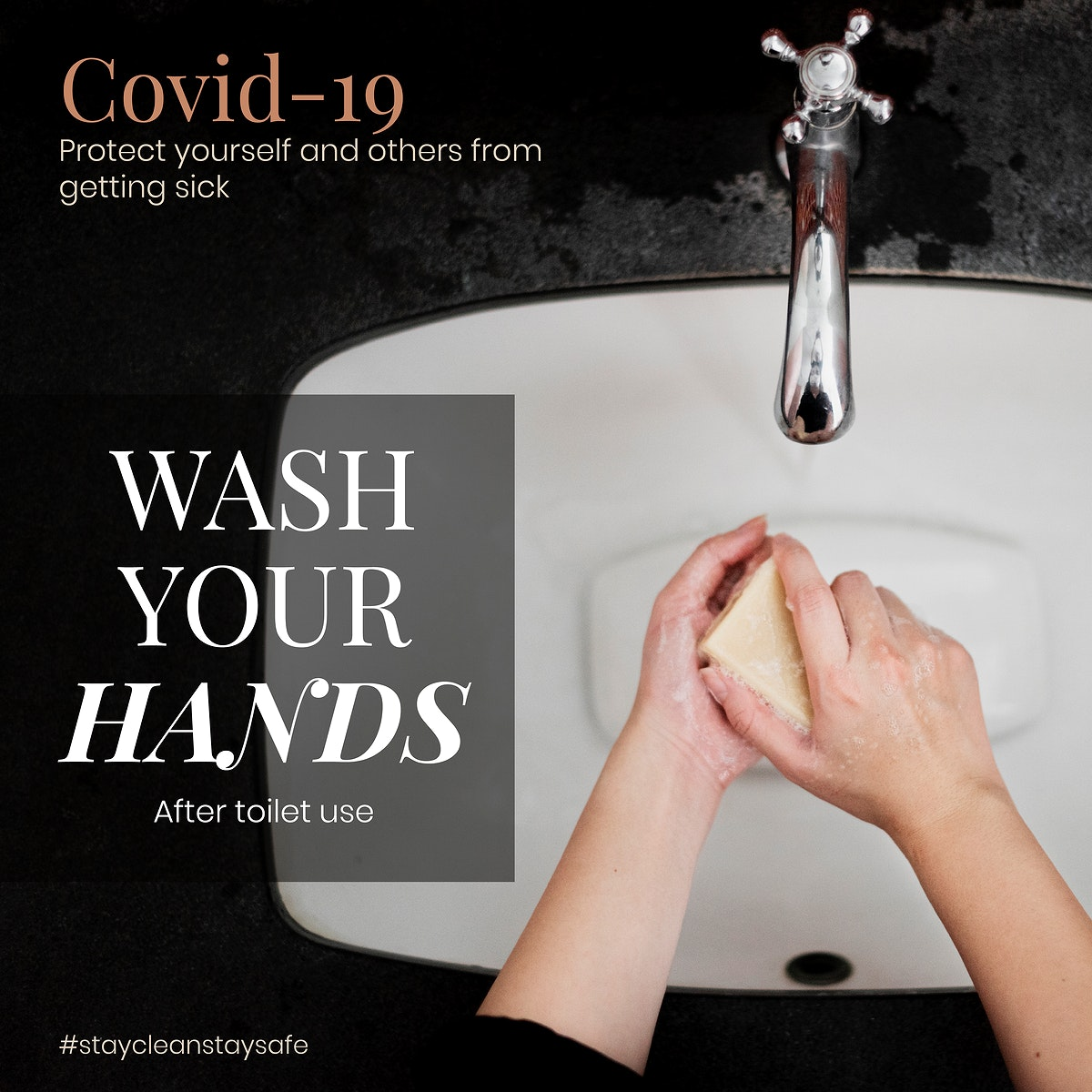 Wash your hands after toilet use to protect yourself and others from getting sick from COVID-19 social template vector