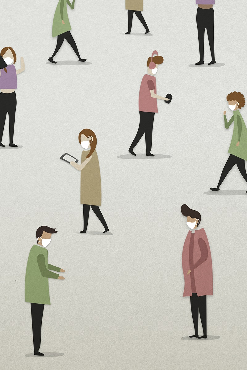 Physical distancing in public background illustration