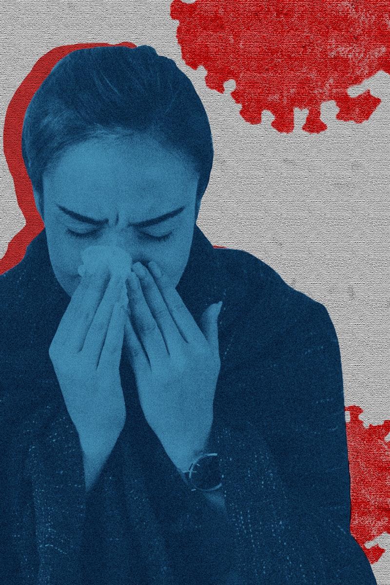 Sneezing woman with coronavirus symptoms background