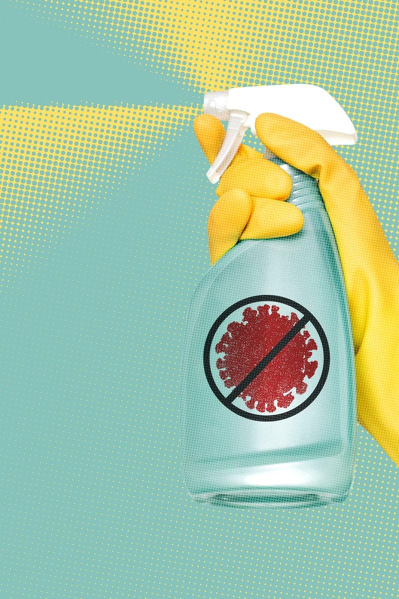 Gloved hand using a spray bottle to kill coronavirus background illustration