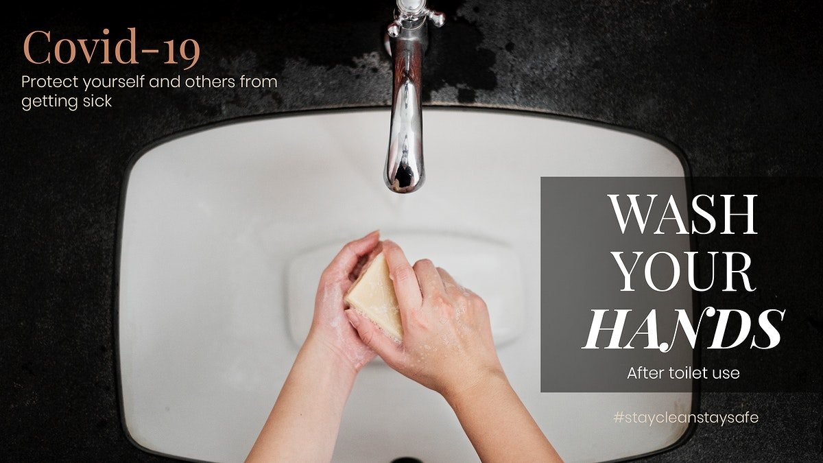 Wash your hands after toilet use to protect yourself and others from getting sick from COVID-19 social template mockup