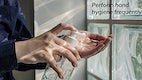 Perform hand hygiene frequently social template vector