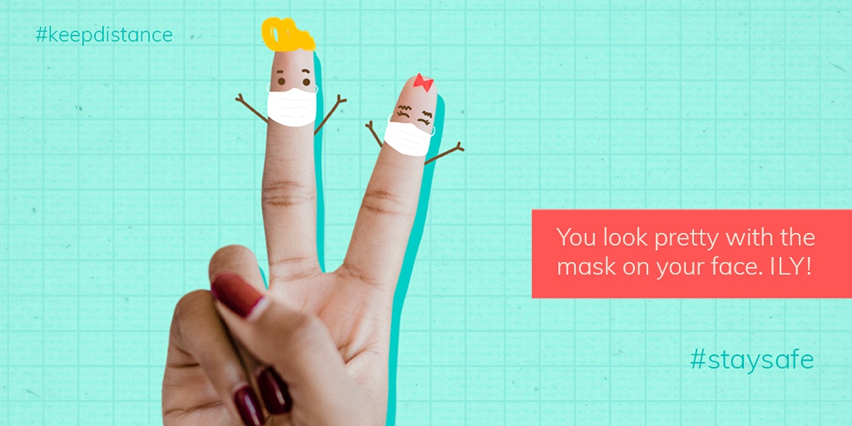 You look pretty with the mask on your face social template mockup