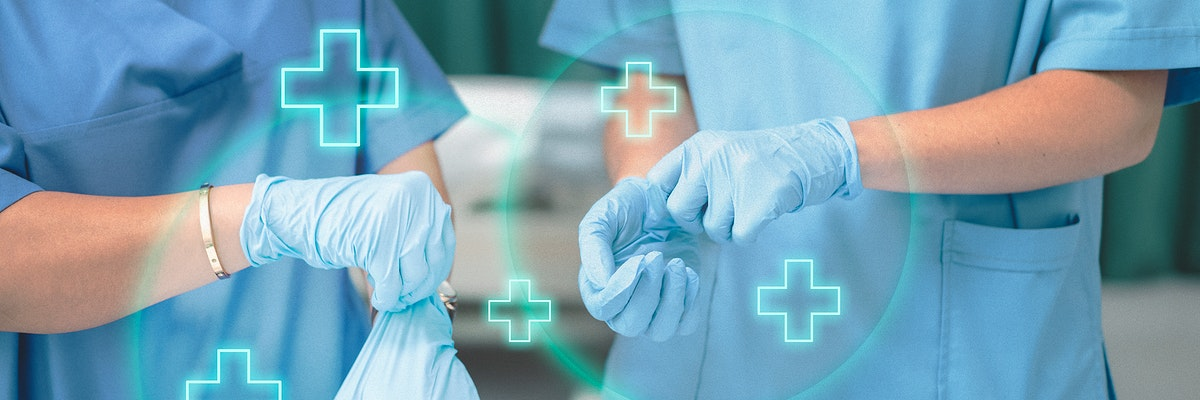 Medical staff wearing gloves to prevent coronavirus contamination
