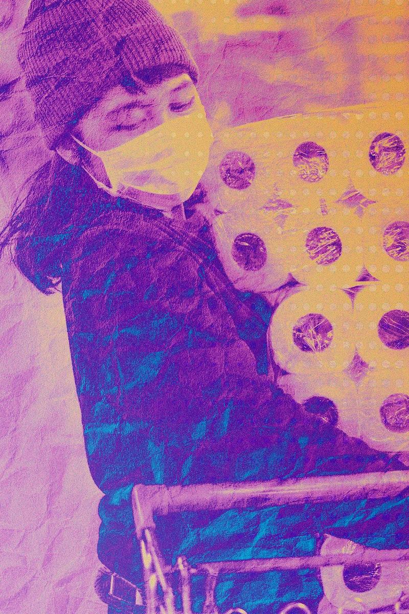 Woman panic buying toilet tissues during coronavirus outbreak background