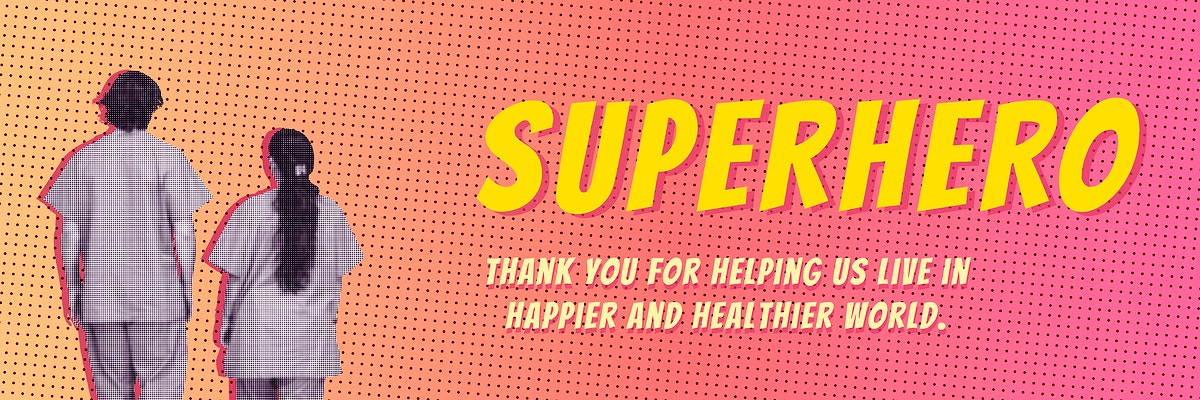 Covid-19 medical heroes on a pink background banner vector