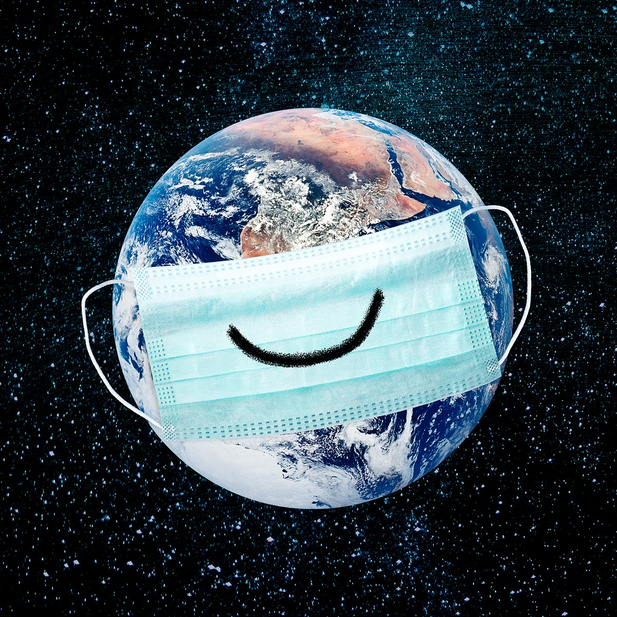 Planet earth wearing a face mask during coronavirus pandemic