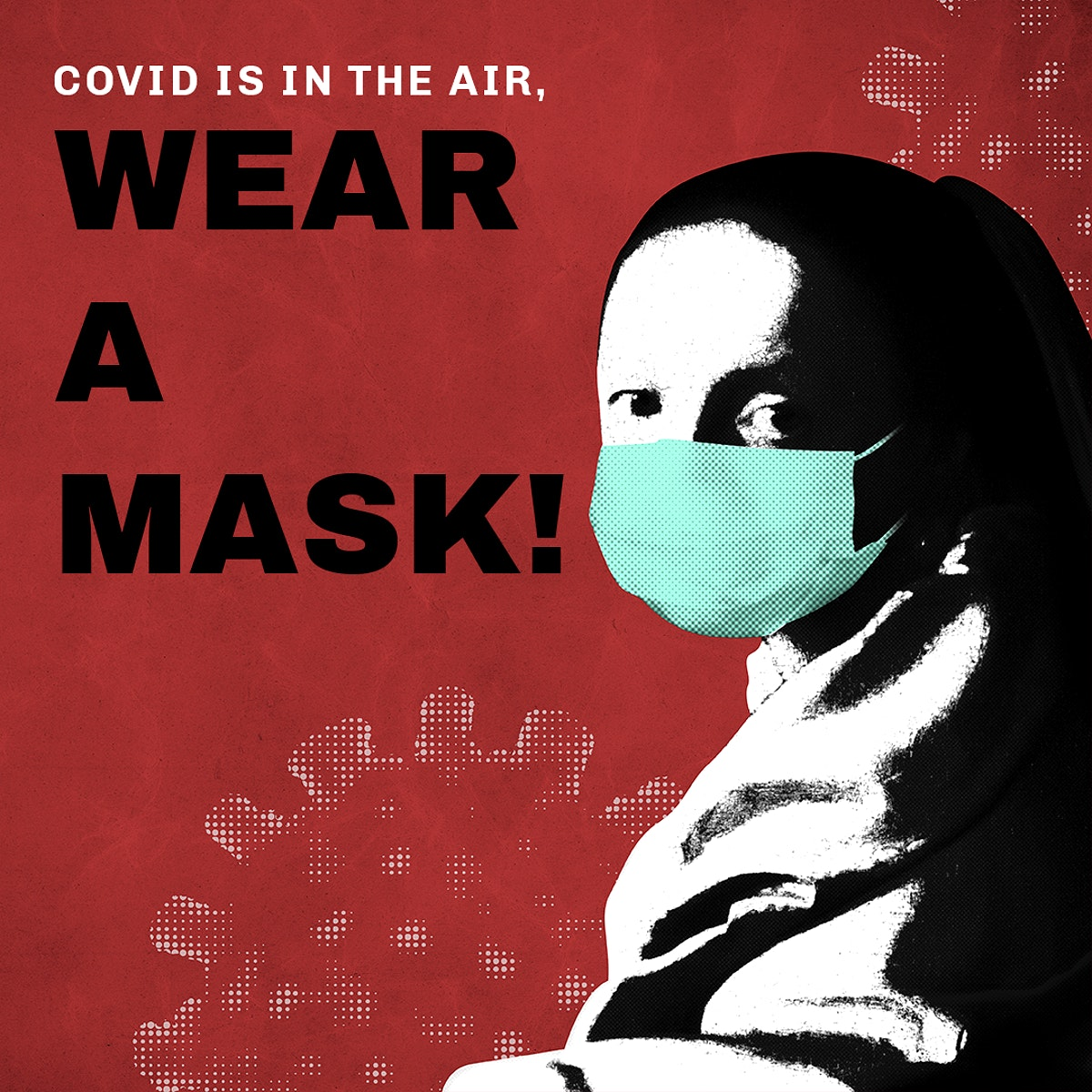 Johannes Vermeer's young woman wearing a face mask during coronavirus pandemic public domain remix