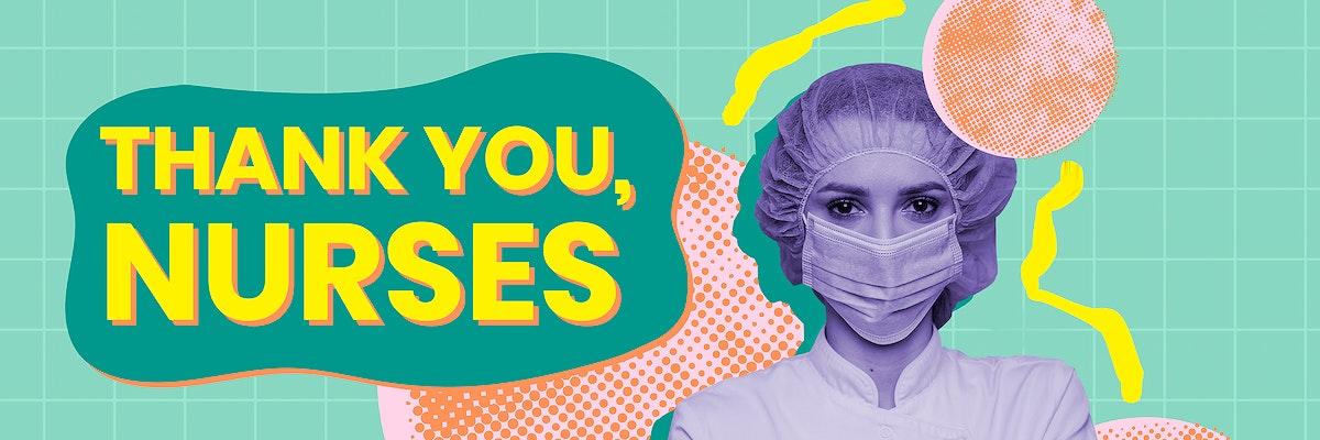 Thank you nurses awareness message template vector