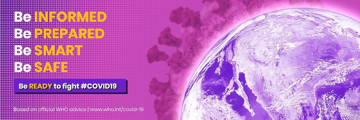Coronavirus contaminated world and WHO advice on the COVID-19 crisis psd mockup banner