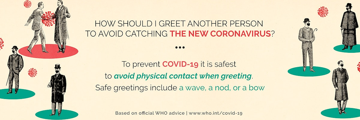 How to greet another person to avoid catching the new coronavirus social banner template vector