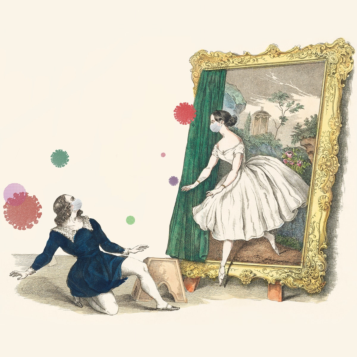 """Vintage advertisement for a ballet """"Des Malers Traumbild"""" featuring Fanny Elßler during coronavirus outbreak…"""