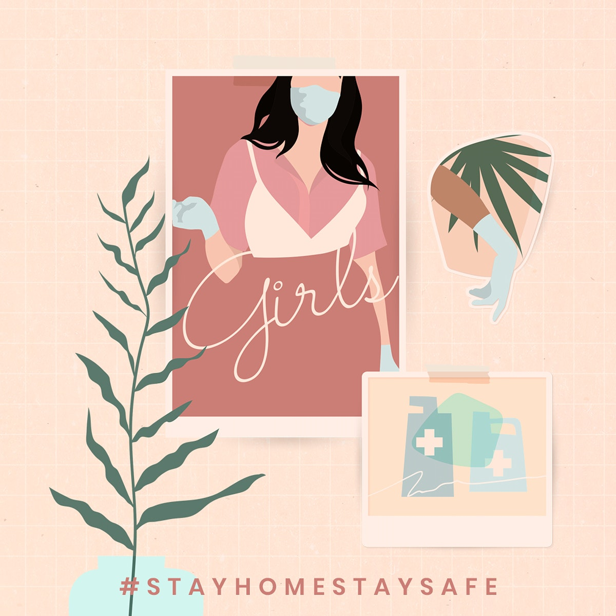 Stay home stay safe during COVID-19 social template illustration