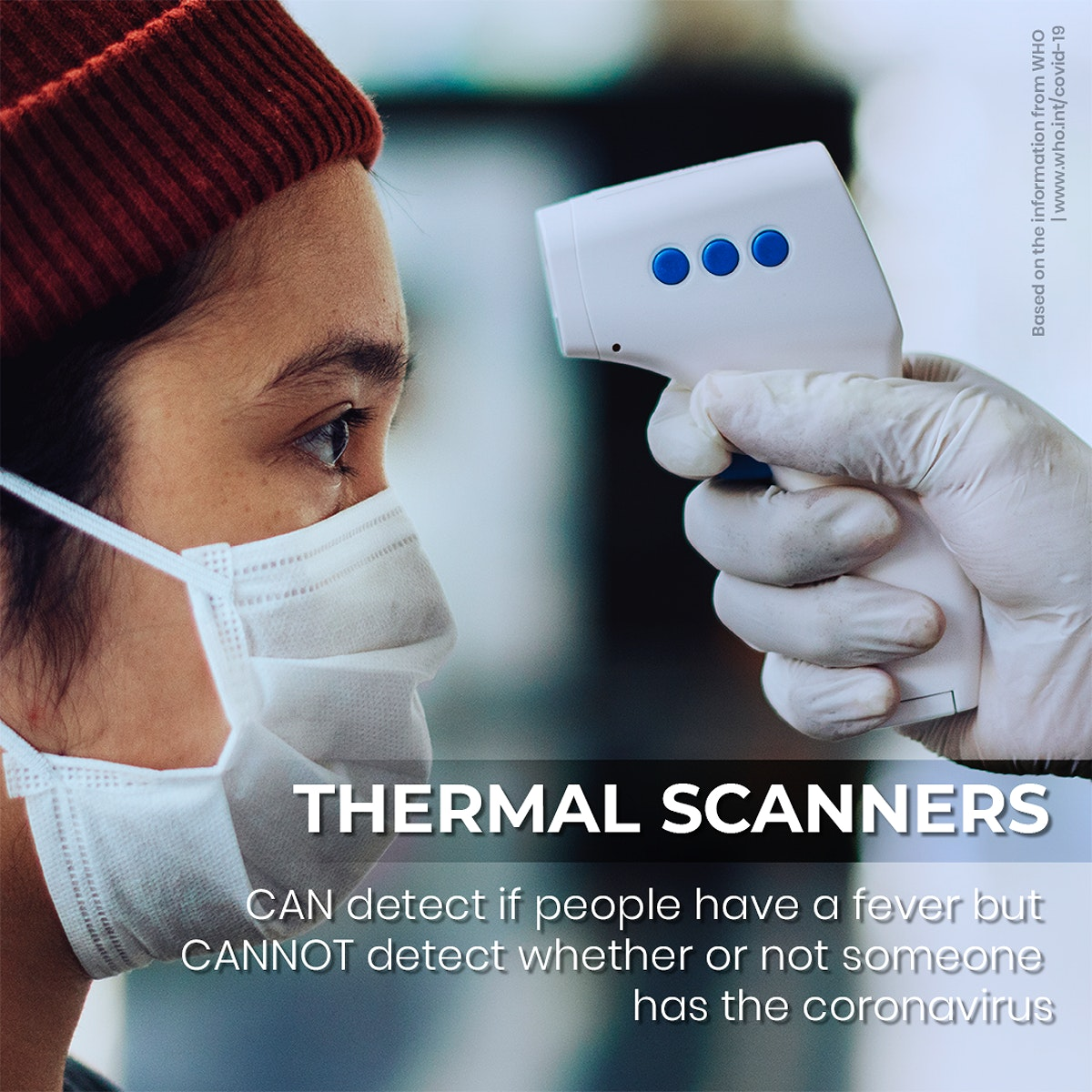 Thermal scanners cannot detect asymptomatic cases information by WHO psd mockup