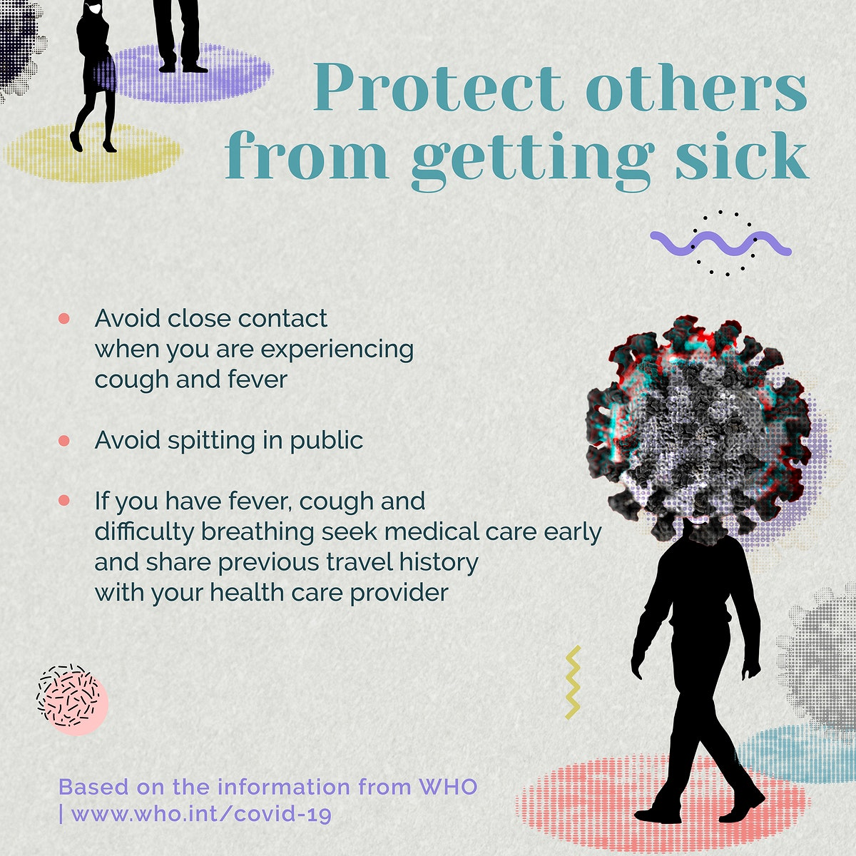 Protect other from getting sick during COVID-19 pandemic advice by WHO vector social ad