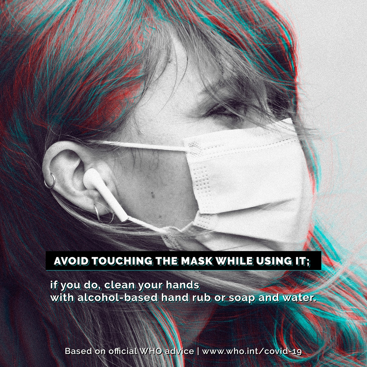 Mask wearing tips during the COVID-19 pandemic by WHO vector social ad