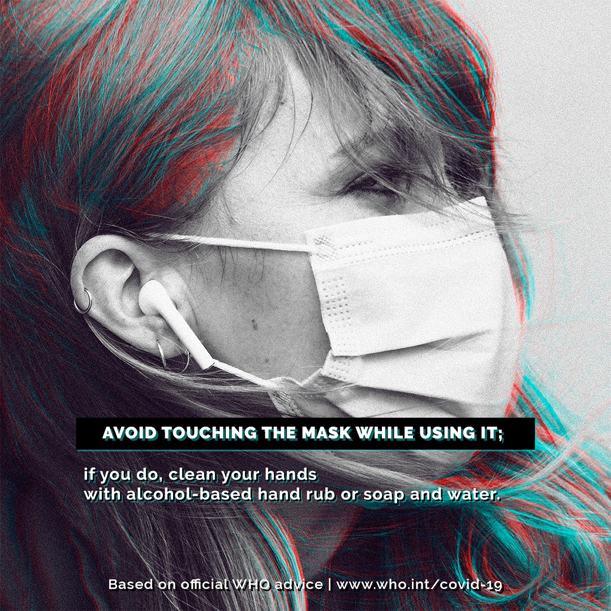 Mask wearing tips during the COVID-19 pandemic by WHO psd mockup social ad