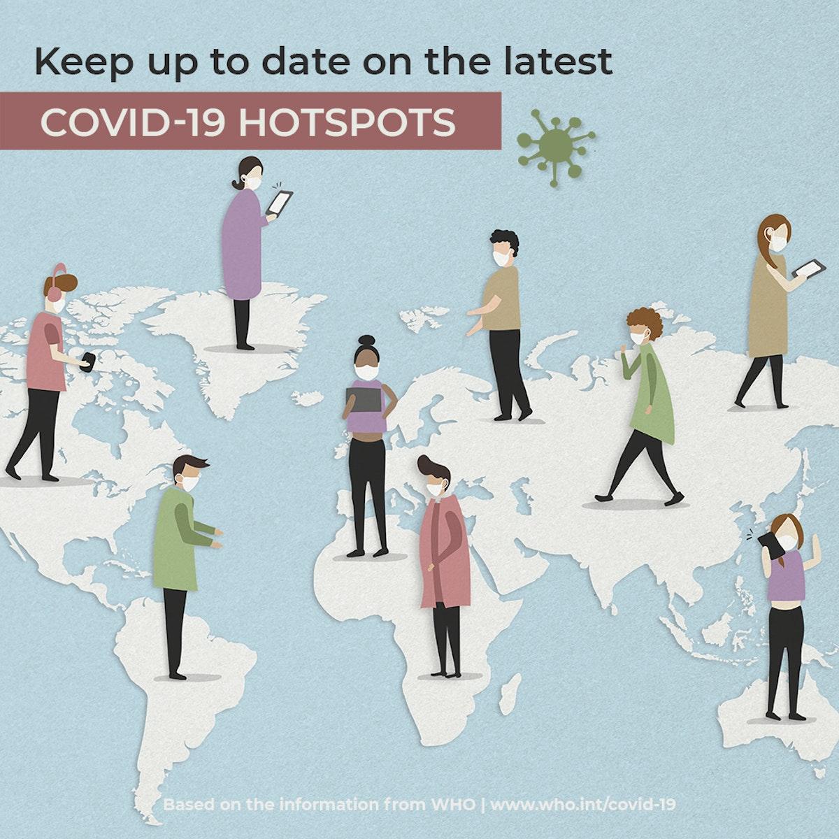 Latest update on COVID-19 hotspot illustration psd mockup social ad