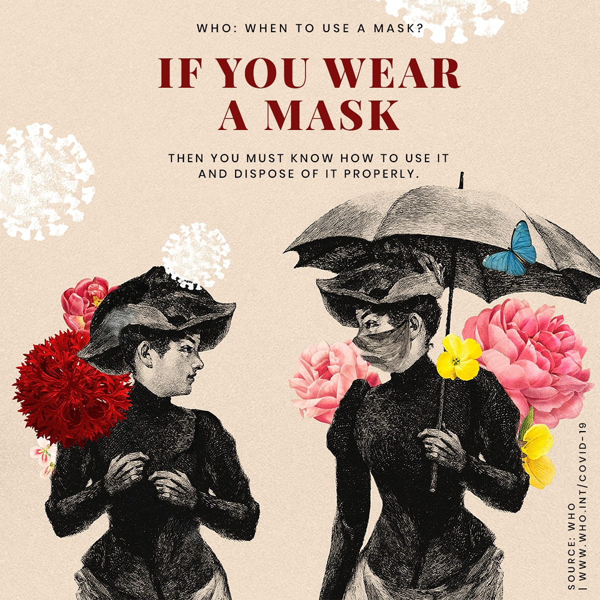 Advice on proper ways to wear a mask provided by WHO and vintage illustration psd mockup social ad