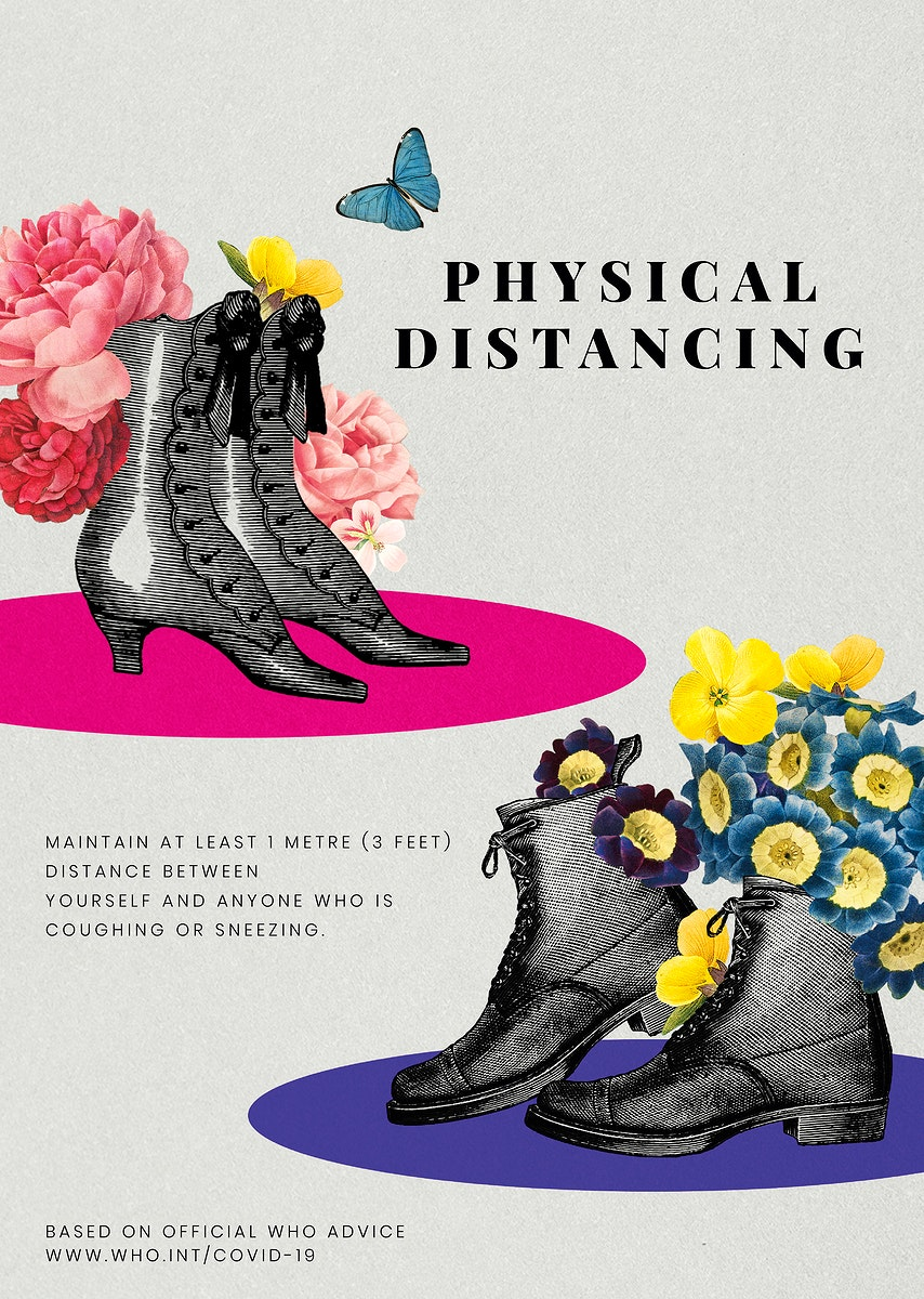 Advice on physical distancing by WHO and vintage pairs of shoes illustration vector poster