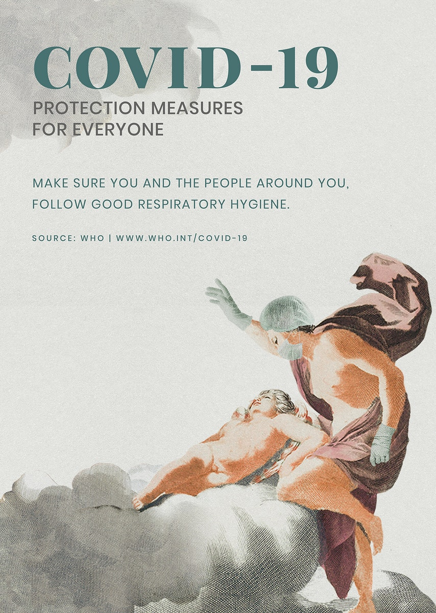 COVID-19 protection measure guide with ancient Greek painting remix illustration psd mockup