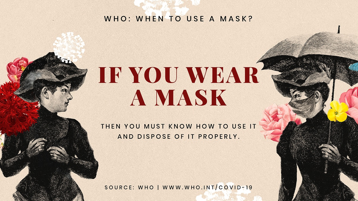 Advice on proper ways to wear a mask provided by WHO and vintage illustration psd mockup banner
