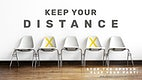 Advice on keeping your distance by WHO psd mockup banner