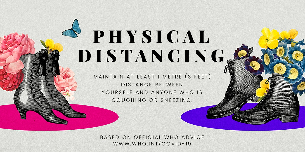 Advice on physical distancing by WHO and vintage pairs of shoes illustration psd mockup banner