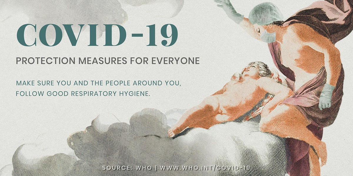 COVID-19 protection measure guide with ancient Greek painting remix illustration vector banner